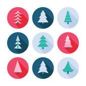 Set of Christmas trees icons. — Stok Vektör