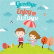 Goodbye summer. Hello autumn. — Stock vektor