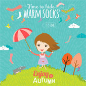 Goodbye summer. Hello autumn. — Stock Vector