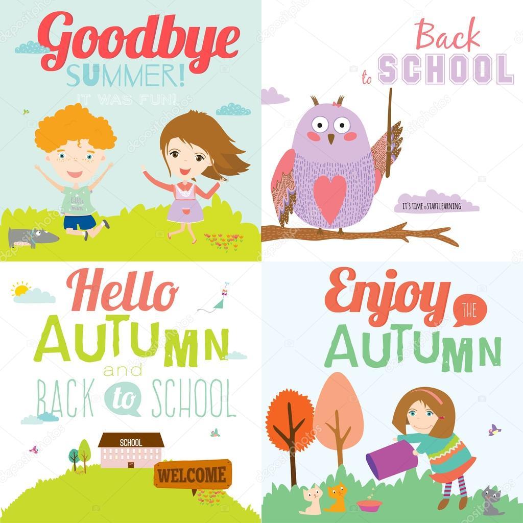 Goodbye Summer. Hello Autumn. U2014 Vector De Stock © One7thlifetime #52173319