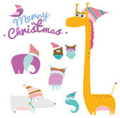 Christmas  background with childish animals — Stock Vector
