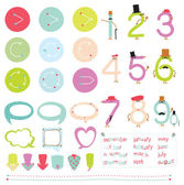 Collection of figures, hipster frames, ribbons, bubbles and arrows. — Stock Vector