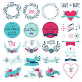 Set with greeting hand drawn labels — Stock Vector