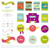 Food collection of badges, labels, tags with tasty cookies. — Stock Vector