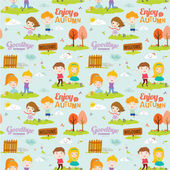 Bright background with funny animals and happy kids who jump and smile. Goodbye summer. Hello autumn. — Stock Vector