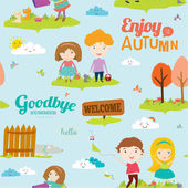 Bright background with funny animals and happy kids who jump and smile. Goodbye summer. Hello autumn. — Vetorial Stock
