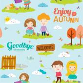 Bright background with funny animals and happy kids who jump and smile. Goodbye summer. Hello autumn. — Stock vektor