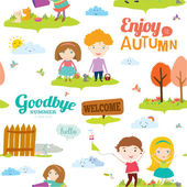 Bright background with funny animals and happy kids who jump and smile. Goodbye summer. Hello autumn. — 图库矢量图片