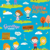 Bright background with funny animals and happy kids who jump and smile. Goodbye summer. Hello autumn. — Stockvektor