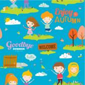 Bright background with funny animals and happy kids who jump and smile. Goodbye summer. Hello autumn. — Vector de stock