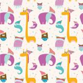 Seamless pattern with childish animals — Stock Vector