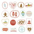 Vintage Christmas and New Year greeting stickers with cute winter elements — Stock Vector #54536615