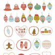 Vintage Christmas and New Year greeting stickers with cute winter elements — Stock Vector #54536697