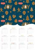 Vintage Christmas and New Year greeting calendar for 2015 with cute typography — Vector de stock