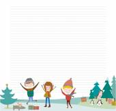 Winter holiday background with penguins, gifts, smiling boys and girls dancing on the snow — Stock Vector