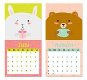 Unusual calendar for 2015 with cartoon and funny animals. — Stok Vektör