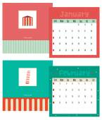 Unusual calendar for 2015 with cartoon and funny travel postcard illustration — Stock Vector