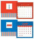 Unusual calendar for 2015 with cartoon and funny travel postcard illustration — Vetorial Stock