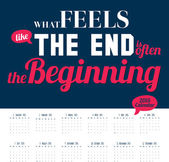 New Year wall calendar for 2015 with inspirational and motivational quotes — Vector de stock