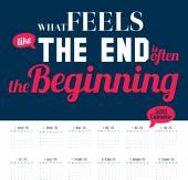 New Year wall calendar for 2015 with inspirational and motivational quotes — ストックベクタ