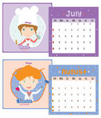 Unusual calendar for 2015 with cartoon and funny Professions. — Stock Vector
