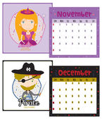 Unusual calendar for 2015 with cartoon and funny Professions — Stock Vector