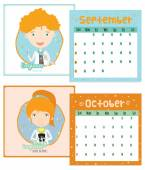 Unusual calendar for 2015 with cartoon and funny Professions. — Stok Vektör