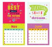 New Year wall calendar for 2015 with inspirational and motivational quotes — Stock Vector
