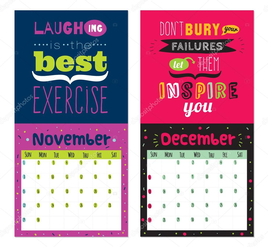 Funny Monthly Calendar Quotes : New year wall calendar for with inspirational and