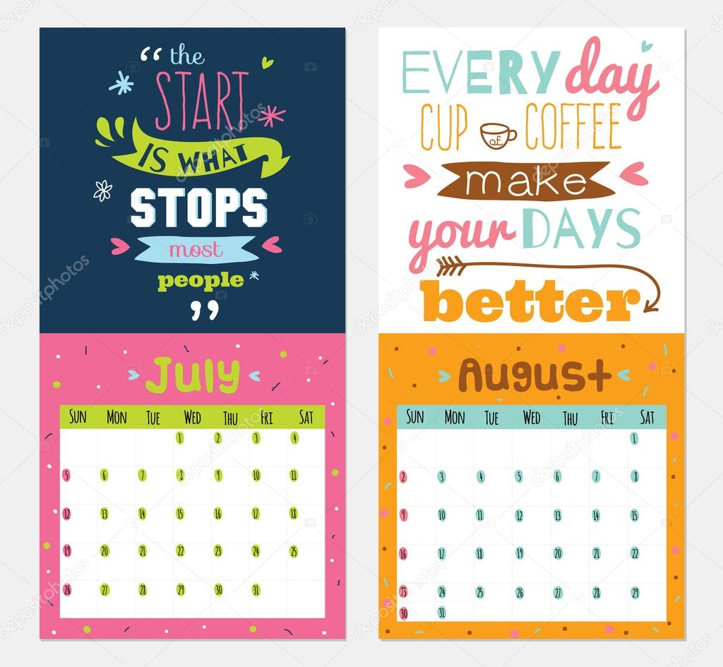 Short Monthly Calendar Quotes : New year wall calendar for with inspirational and