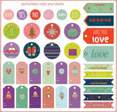 Christmas and New Year greeting stickers — Stock Vector