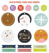 Vintage Christmas and New Year greeting stickers — Wektor stockowy
