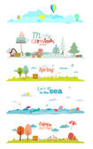 Seasons banners — Stock Vector