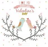 Tarjeta de San Valentín con aves — Vector de stock
