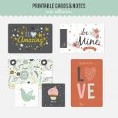 Romantic and love cards — ストックベクタ