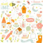 Spring elements background — Stock Vector