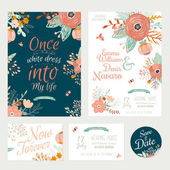 Floral Save the Date invitations — Stock Vector