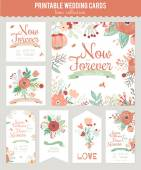 Floral Save the Date invitation — Stock Vector