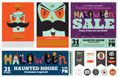 Prinset Trick or Treat Poster tarjetas — Vector de stock