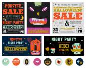 PrinSet Trick or Treat Poster Cards — Stock Vector