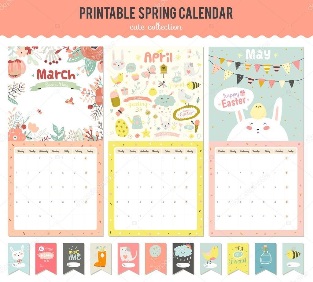Cute Calendar Illustration : Cute calendar template for — stock vector