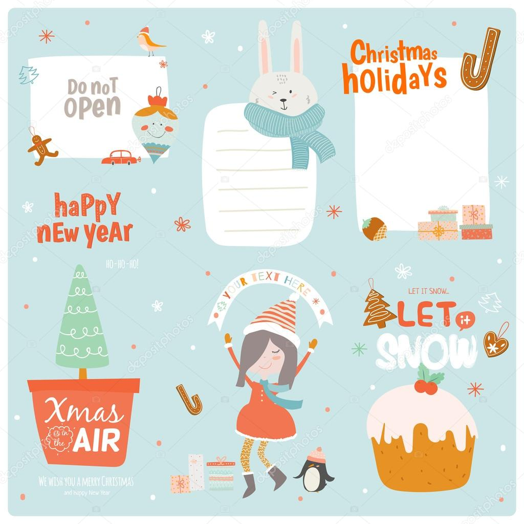 christmas gift cards stock vector © one7thlifetime 95623782 collection of 6 christmas gift tags and cards templates christmas beautiful cheerful posters set lovely winter invitations cartoon and character