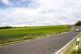 Automobile car driving on the road, sunny day and blue sky in summer, beside wheat field — 图库照片