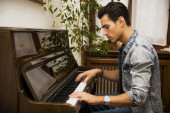 Young handsome male artist playing classical upright piano — Foto de Stock