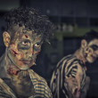 Two male zombies standing outdoor at night for Halloween — Stock Photo #55161607