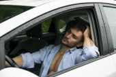 Tired Gorgeous Man Driving His Car — Stock Photo