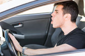 Man pressing horn while in a traffic jam — Stock Photo