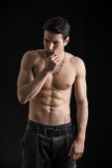 Shirtless young man thinking unsure — Stock Photo