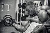 Hunky muscular black bodybuilder — Stock Photo