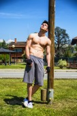 Shirtless young man resting after workout outdoor — Foto de Stock